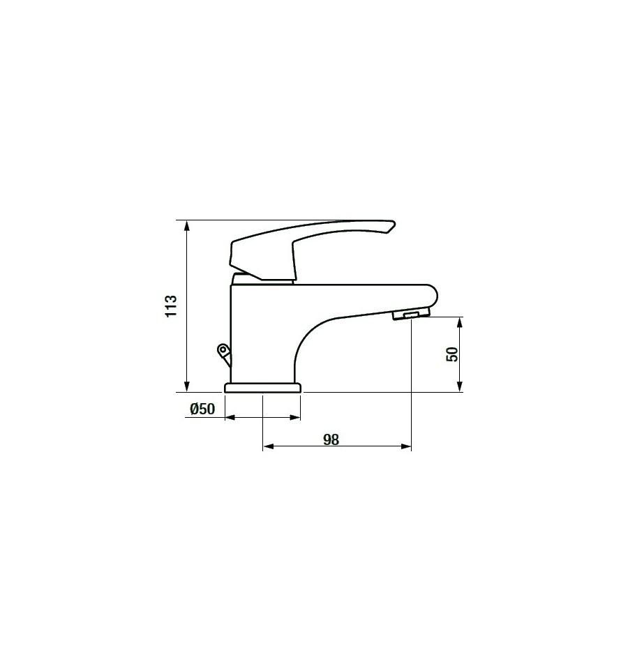 Grb ten pro monomando de lavabo de 50 mm de altura cromado - Altura de lavabo ...